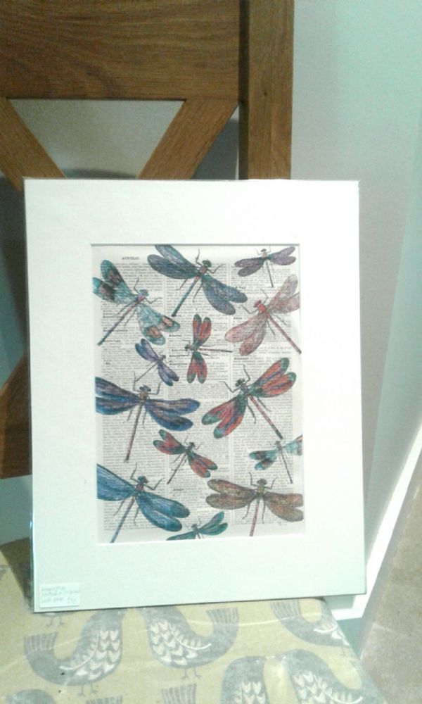 Dragonflies printed on an old Page